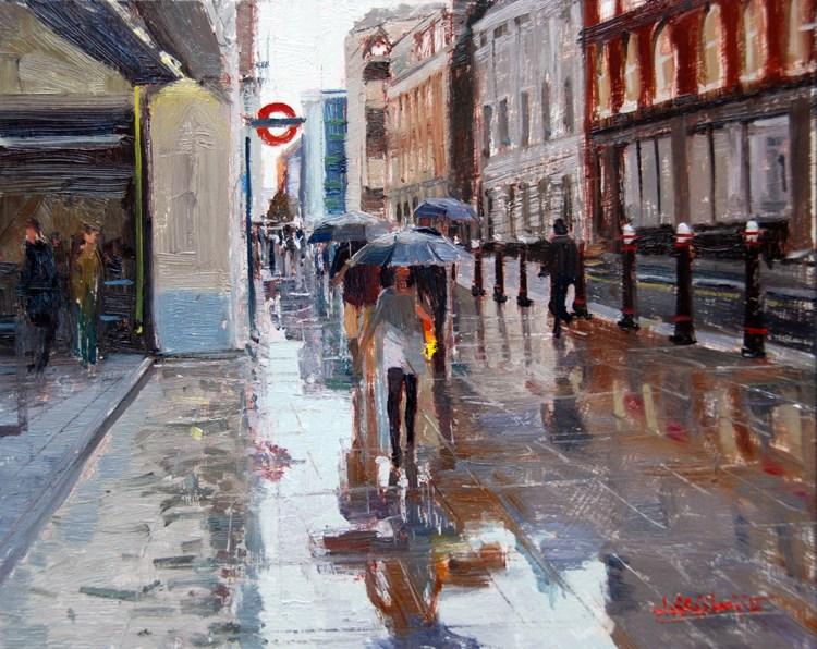 """Rain & Reflections, Cannon Street II"" original fine art by Adebanji Alade"