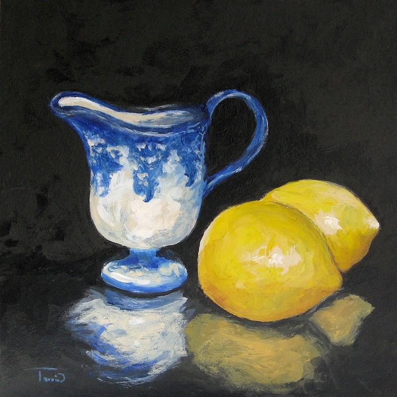 """Flow Blue Creamer and Lemons"" original fine art by Torrie Smiley"