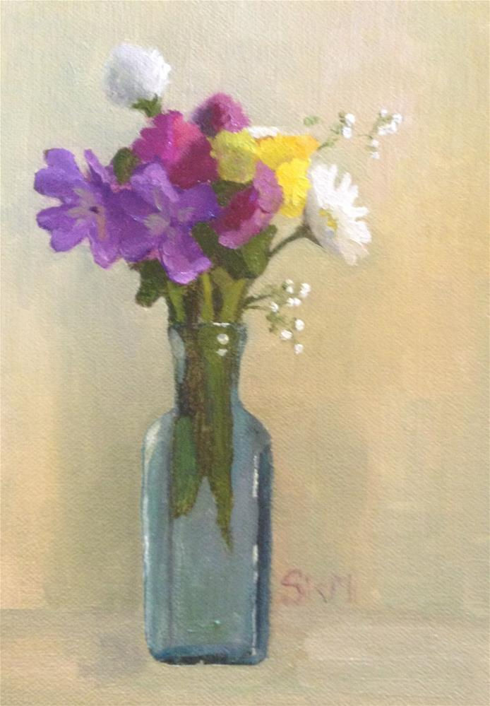 """summer flowers, antique bottle"" original fine art by Sarah Meredith"