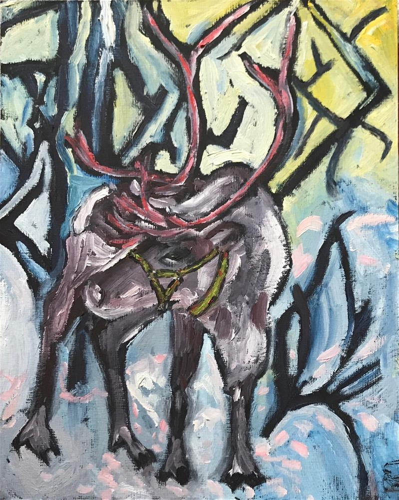 """Wooded Reindeer"" original fine art by Rita Malenczyk"