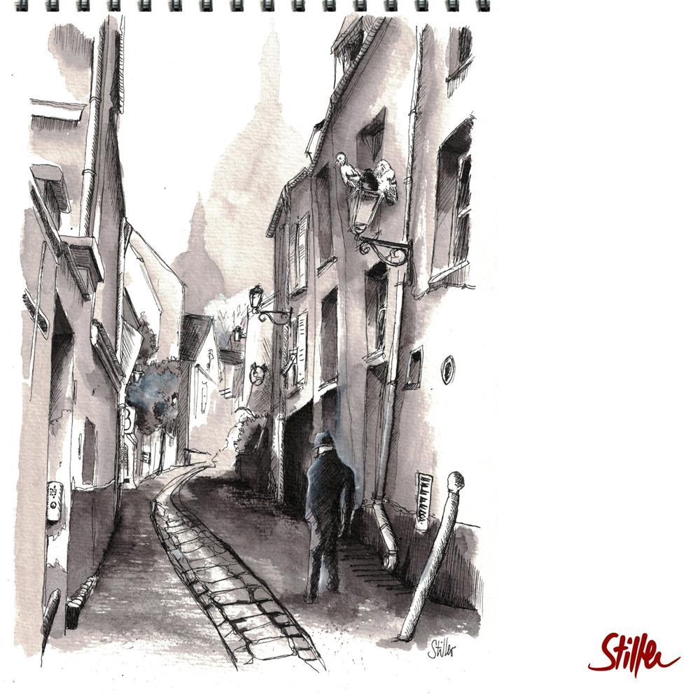 """""""3486 Ruelle en Montmartre"""" original fine art by Dietmar Stiller"""
