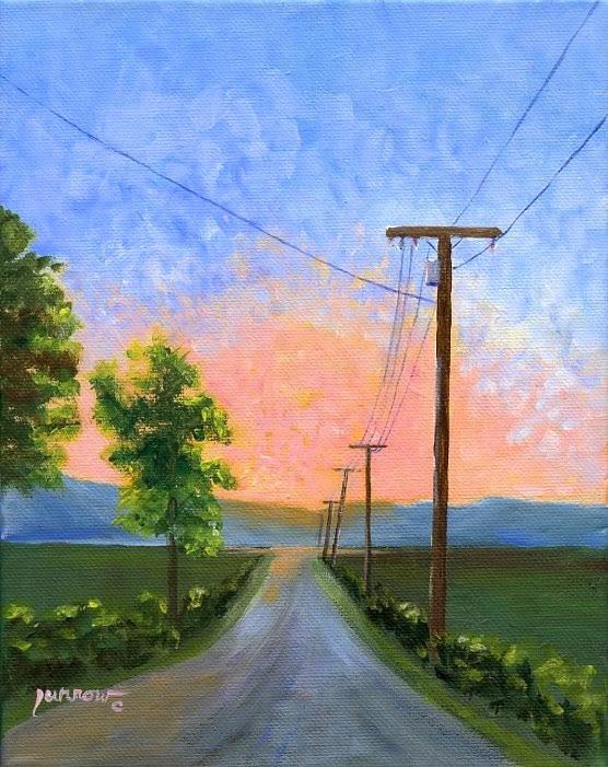 """ORIGINAL PAINTING SUNSET WITH UTILITY POLES"" original fine art by Sue Furrow"