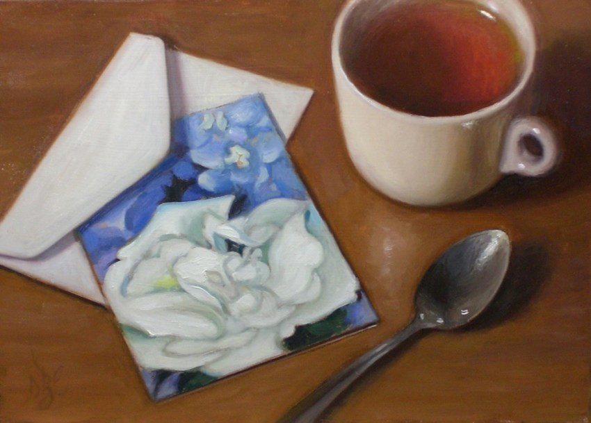 """""""Tea and Note Card"""" original fine art by Debra Becks Cooper"""