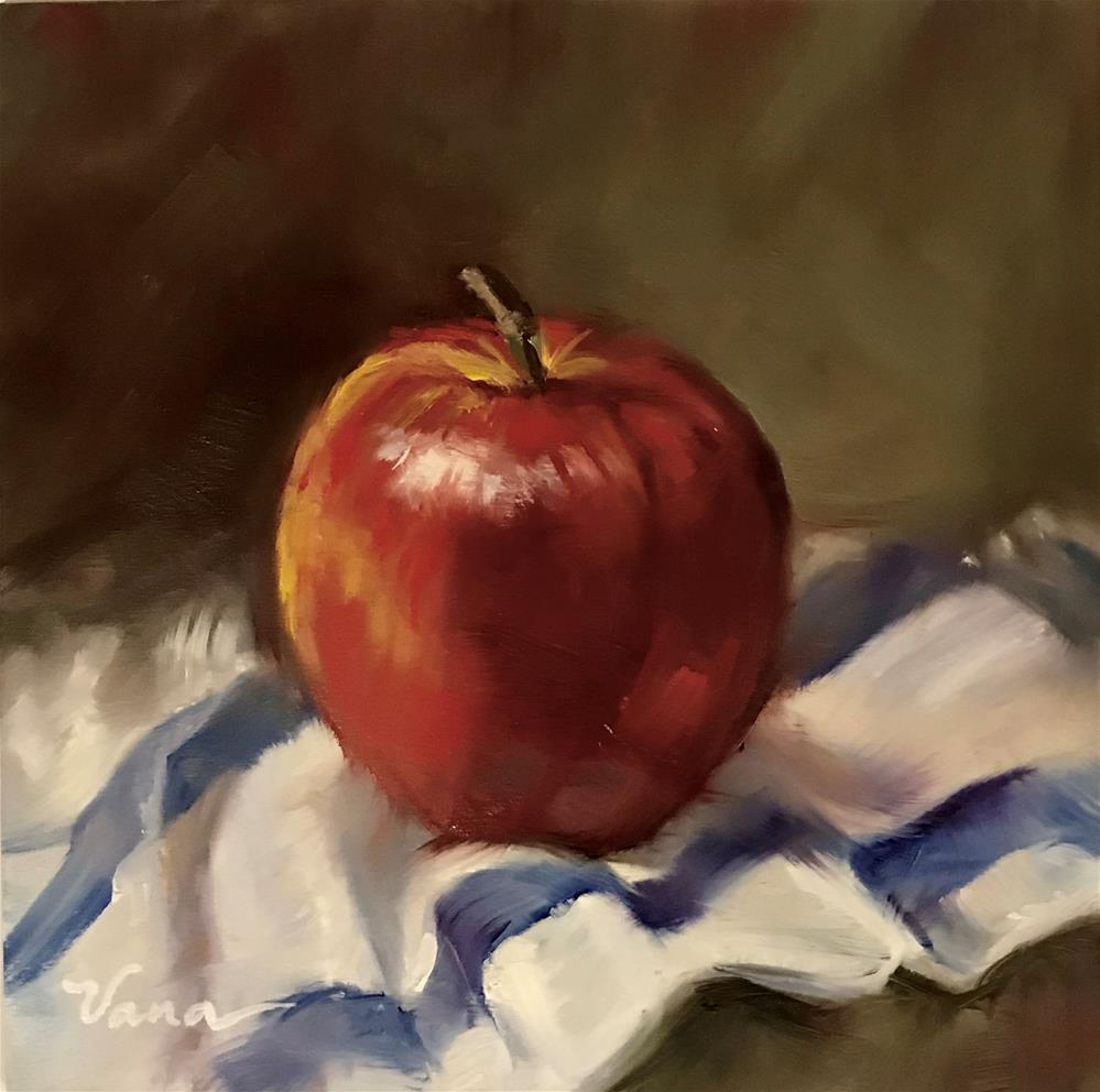 """Apple on Blue Striped Towel"" original fine art by Vana Meyers"