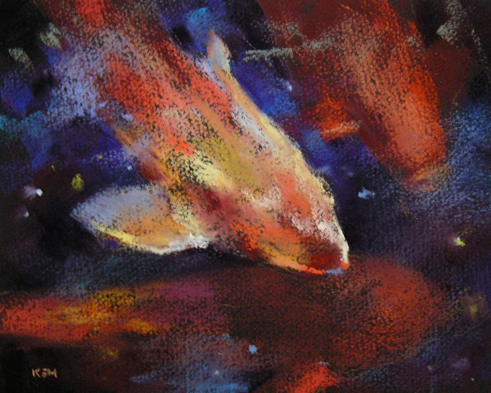 """Koi Pastel on Black Paper 8x10"" original fine art by Karen Margulis"