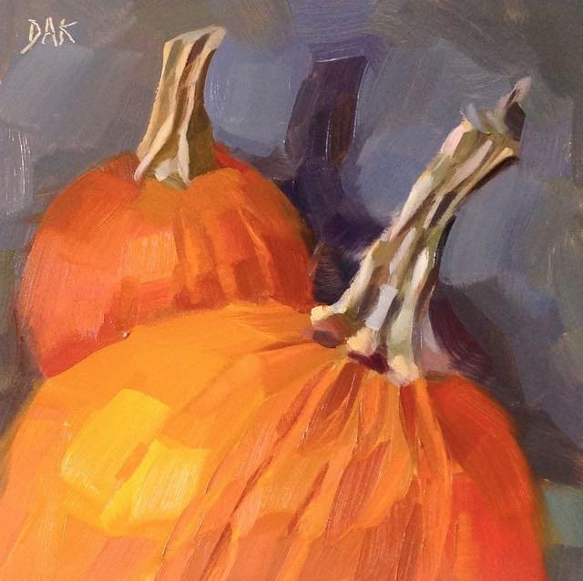 """""""Pair Of Pumpkins"""" original fine art by Deborah Ann Kirkeeide"""