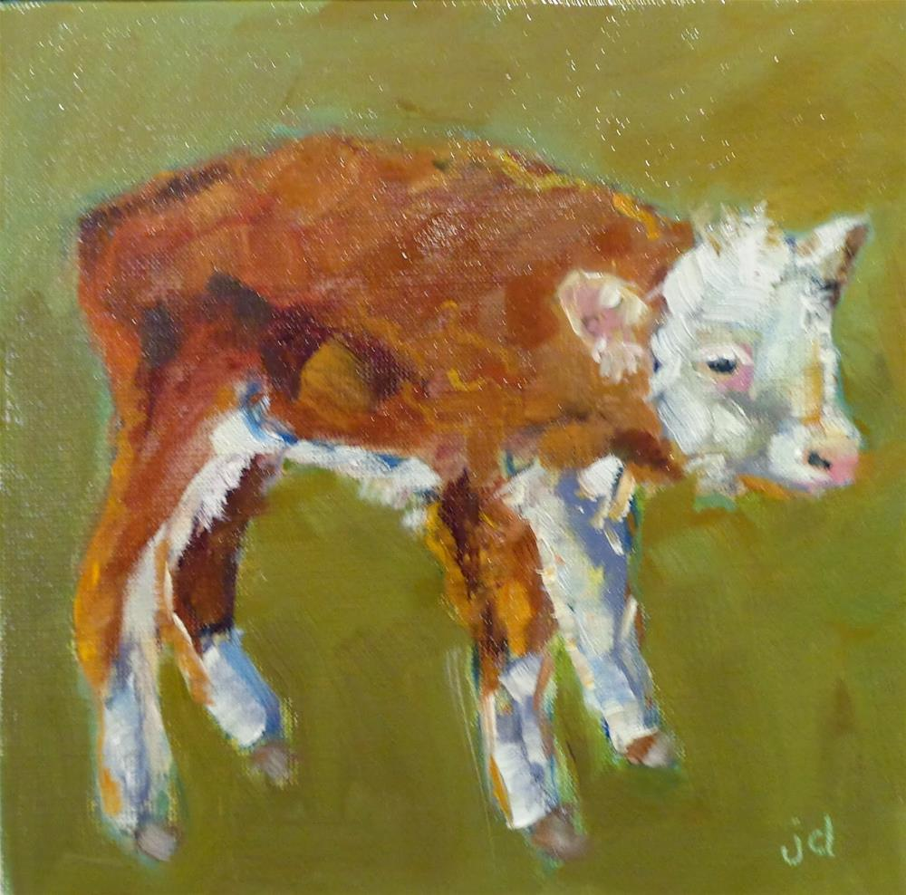 """""""Cow 26...Little miss"""" original fine art by Jean Delaney"""