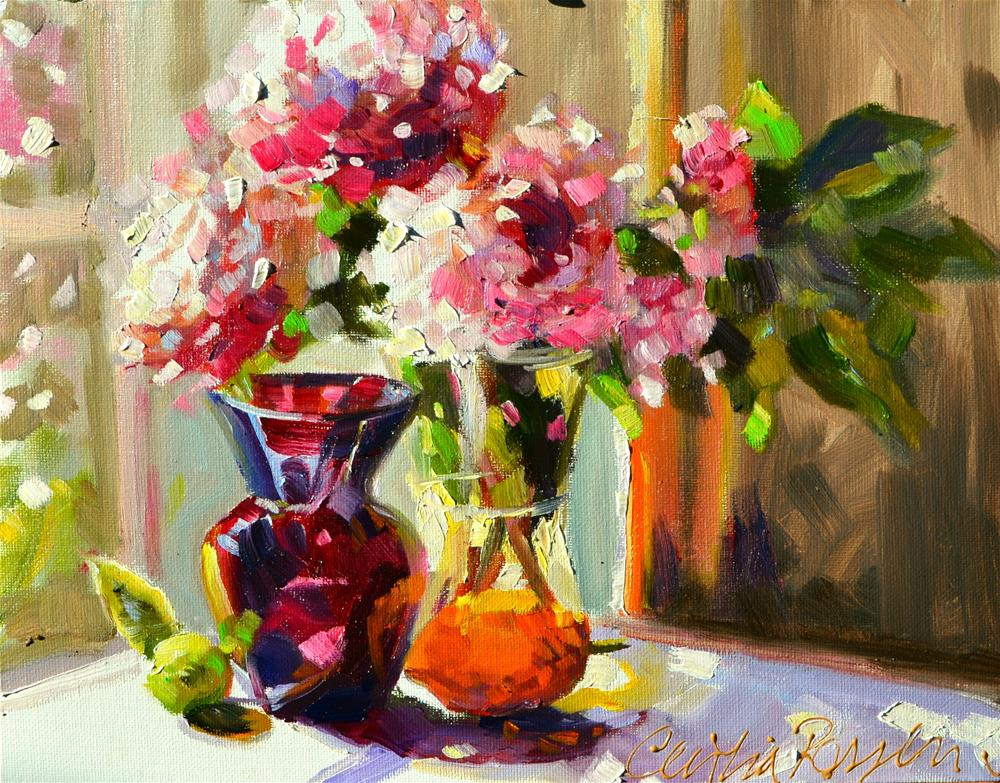 """""""PEONIES IN MIDDAY SUN"""" original fine art by Cecilia Rosslee"""