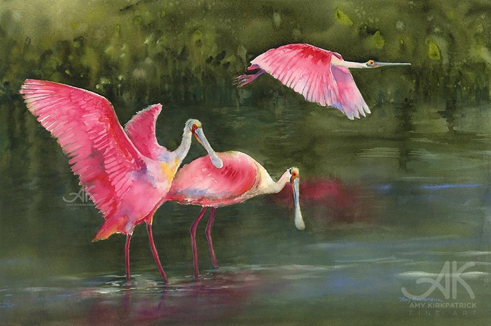 """SPOONBILLS #0651"" original fine art by Amy Kirkpatrick"