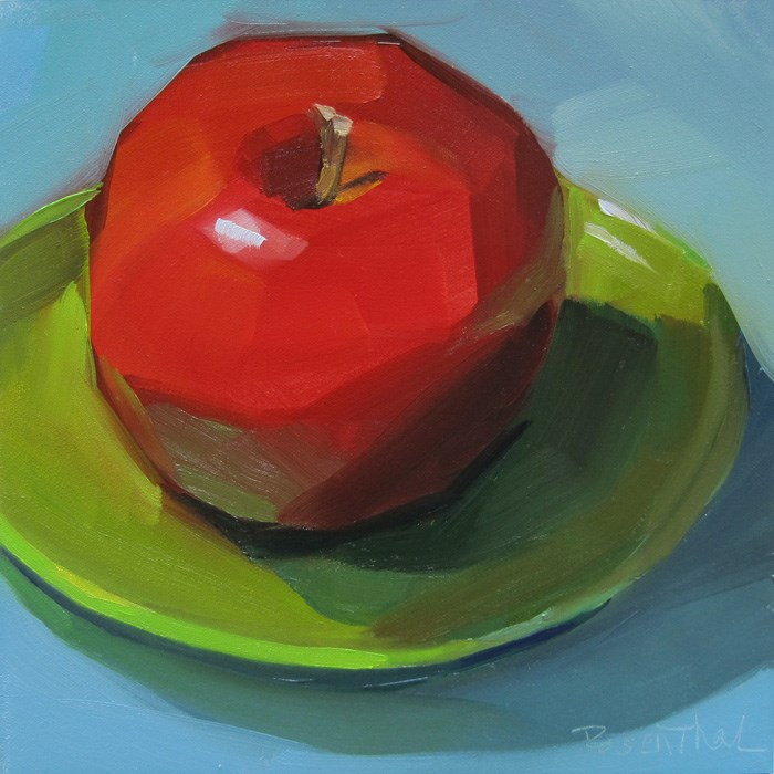 """Red Apple on Green Plate"" original fine art by Robin Rosenthal"
