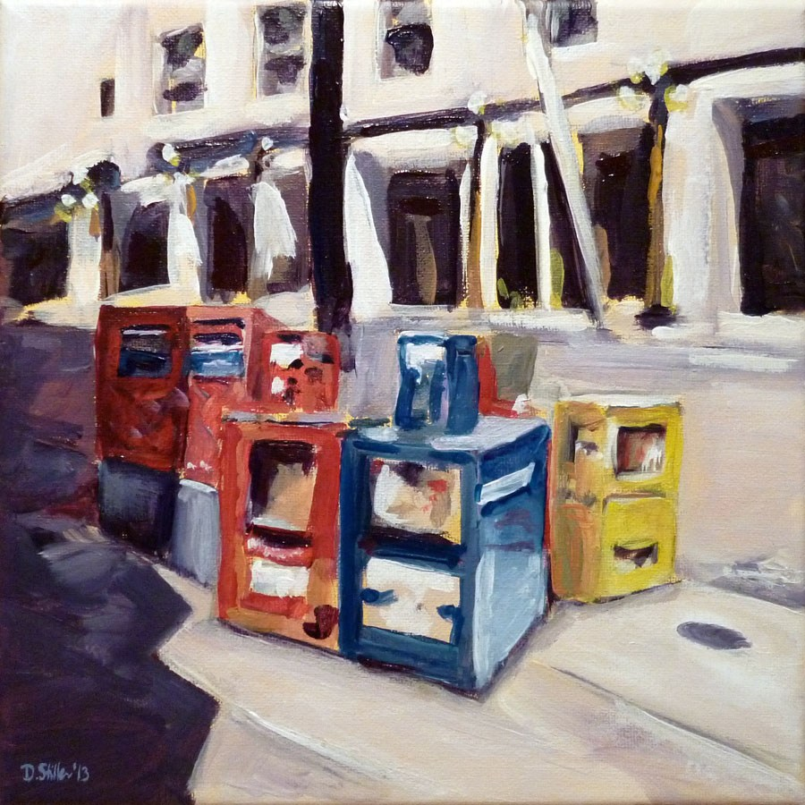 """0539 Newspaper Vending Machines - Zeitungsautomaten"" original fine art by Dietmar Stiller"