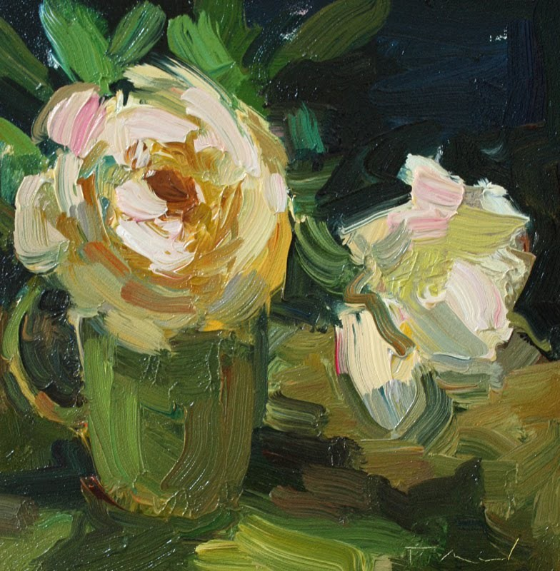 """""""Two White Roses"""" original fine art by Kathryn Townsend"""