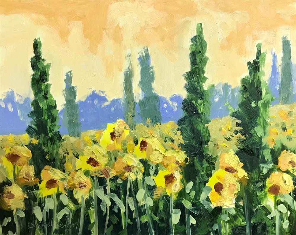 """Italian Sunflower Field"" original fine art by Linda Blondheim"