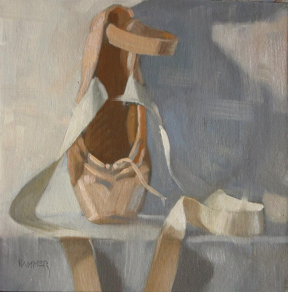 """""""One on pointe 8x8 oil"""" original fine art by Claudia Hammer"""