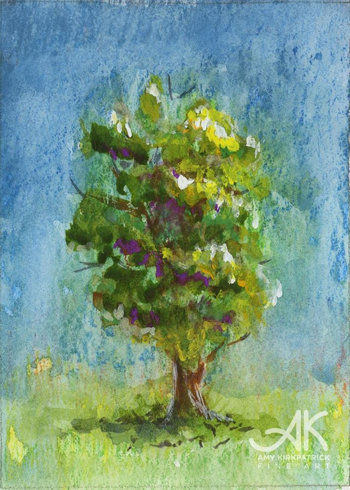 """TREE #20 (ACEO) #0669"" original fine art by Amy Kirkpatrick"