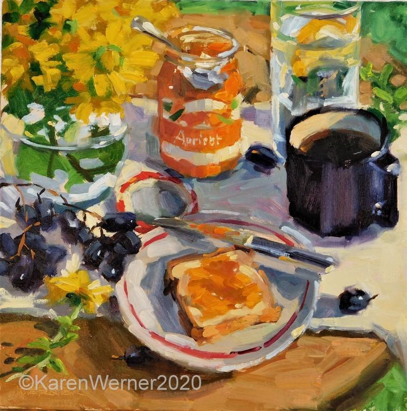 """""""Toast & Jam"""" original fine art by Karen Werner"""