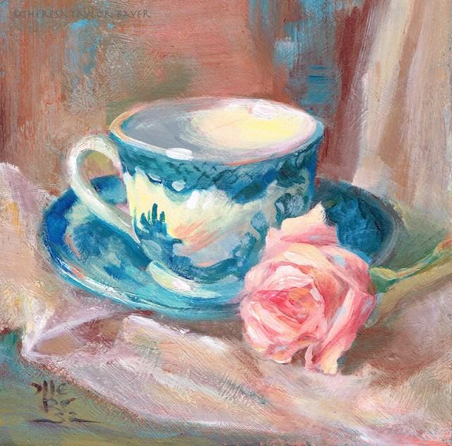 """""""Teacup and Rose - Theresa Taylor Bayer"""" original fine art by Theresa Taylor Bayer"""