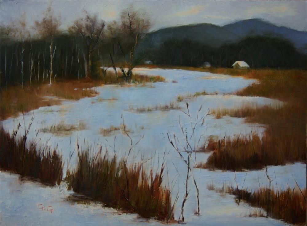 """Snow on the Meadow"" original fine art by Gail G. Slockett"
