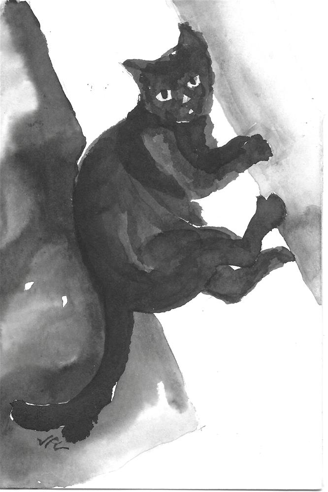 """BlackCat"" original fine art by Jean Krueger"