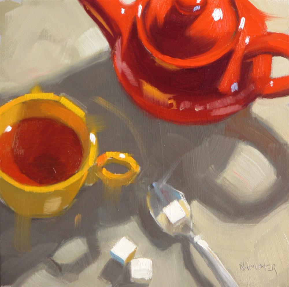 """Brewed Tea  6 x 6  oil"" original fine art by Claudia Hammer"