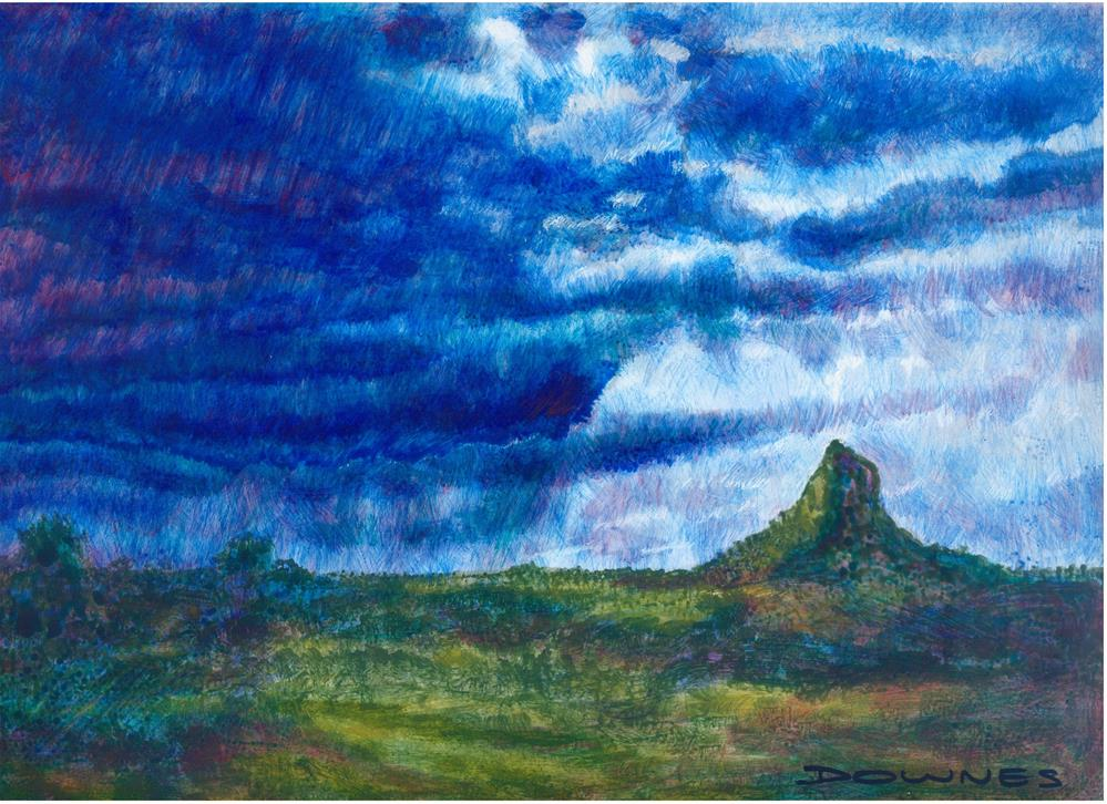 """107 GLASSHOUSE MOUNTAINS 6"" original fine art by Trevor Downes"