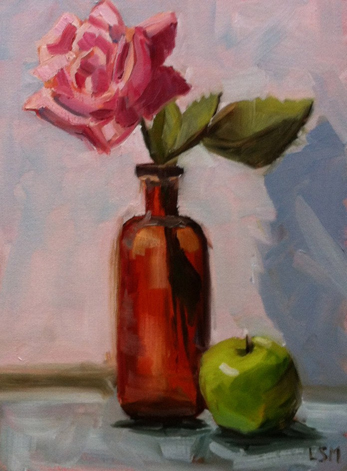 """Brown Bottle, Green Apple and Rose"" original fine art by Linda Marino"