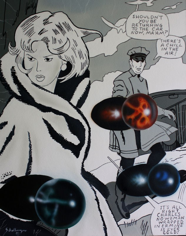 """""""Romance Comic with Marbles"""" original fine art by Fred Schollmeyer"""