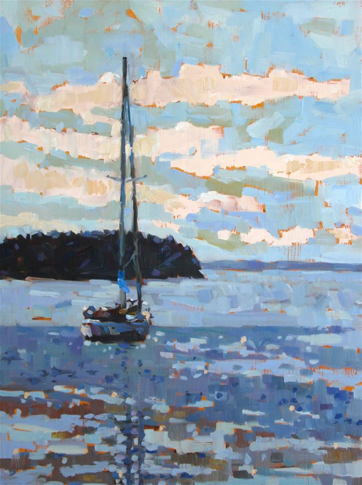 """""""Stonington Cove 12x16 oil on 2cradled harbored. Loved working the color and the brushwork in this painting. I'm really pleased with the outcome."""" original fine art by Mary Sheehan Winn"""