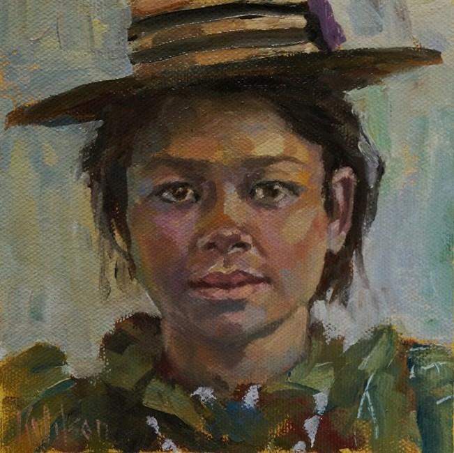 """""""#5 Perched Hat"""" original fine art by Katie Wilson"""