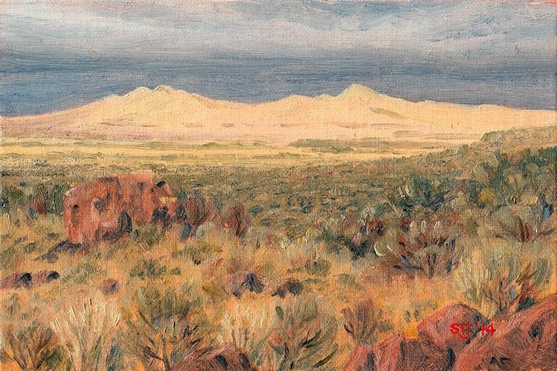 """C1591 Last Sun-break over the Rabbit Hills before the Approaching Storm  (Warner Valley, Oregon High Desert)"" original fine art by Steven Thor Johanneson"