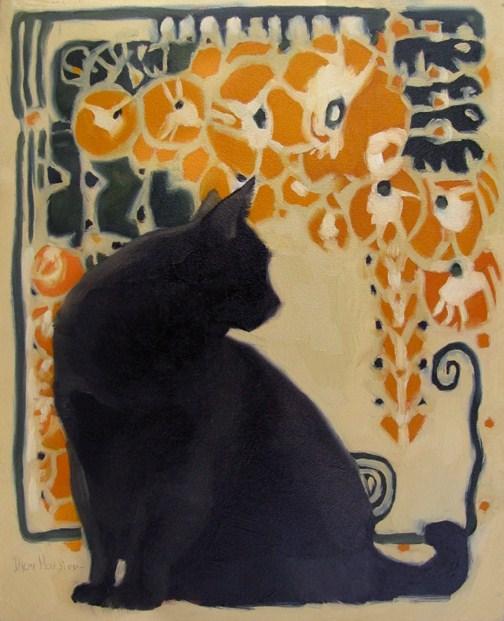 """""""Cat Nouveau II black cat art nouveau painting"""" original fine art by Diane Hoeptner"""