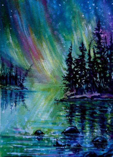 """Northern Lights, Yukon"" original fine art by Jackie Irvine"