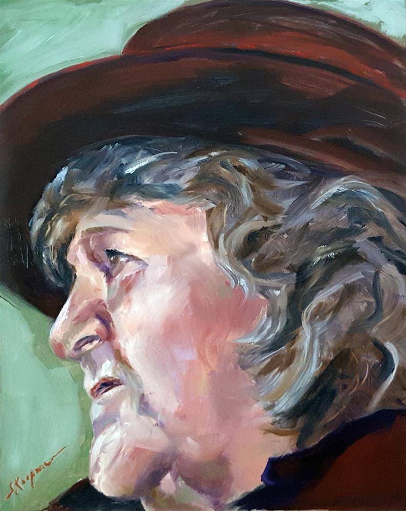 """""""Woman in a Purple Hat"""" original fine art by Shelley Koopmann"""