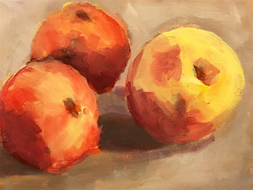 """""""Apple Trio"""" original fine art by Susan Elizabeth Jones"""