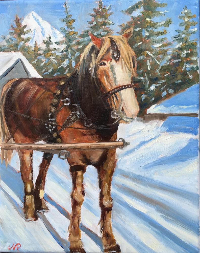 """A carriage horse in Government Camp"" original fine art by Natasha Ramras"