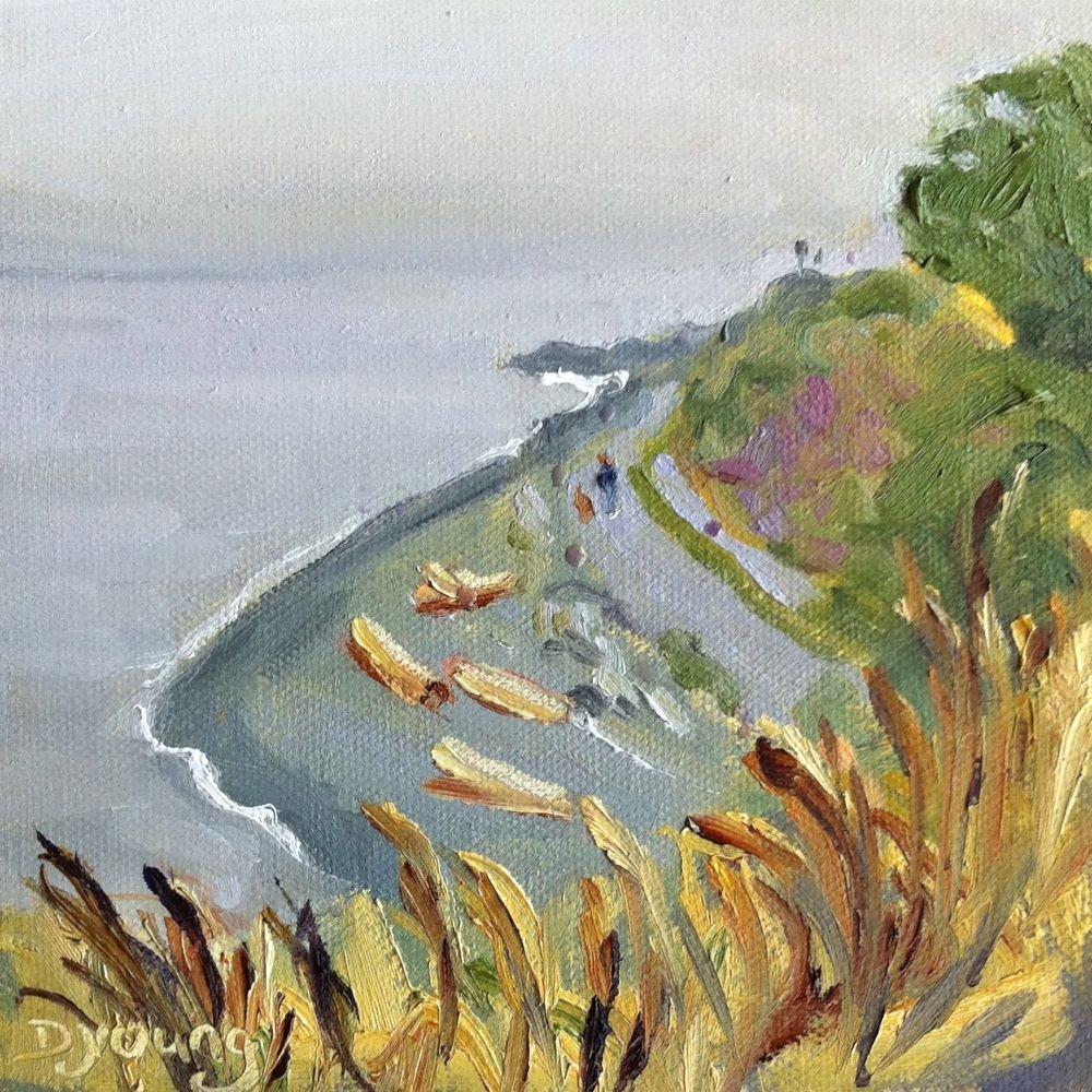 """""""Fonyo Beach Rain, oil on canvas board, 6x6"""" original fine art by Darlene Young"""
