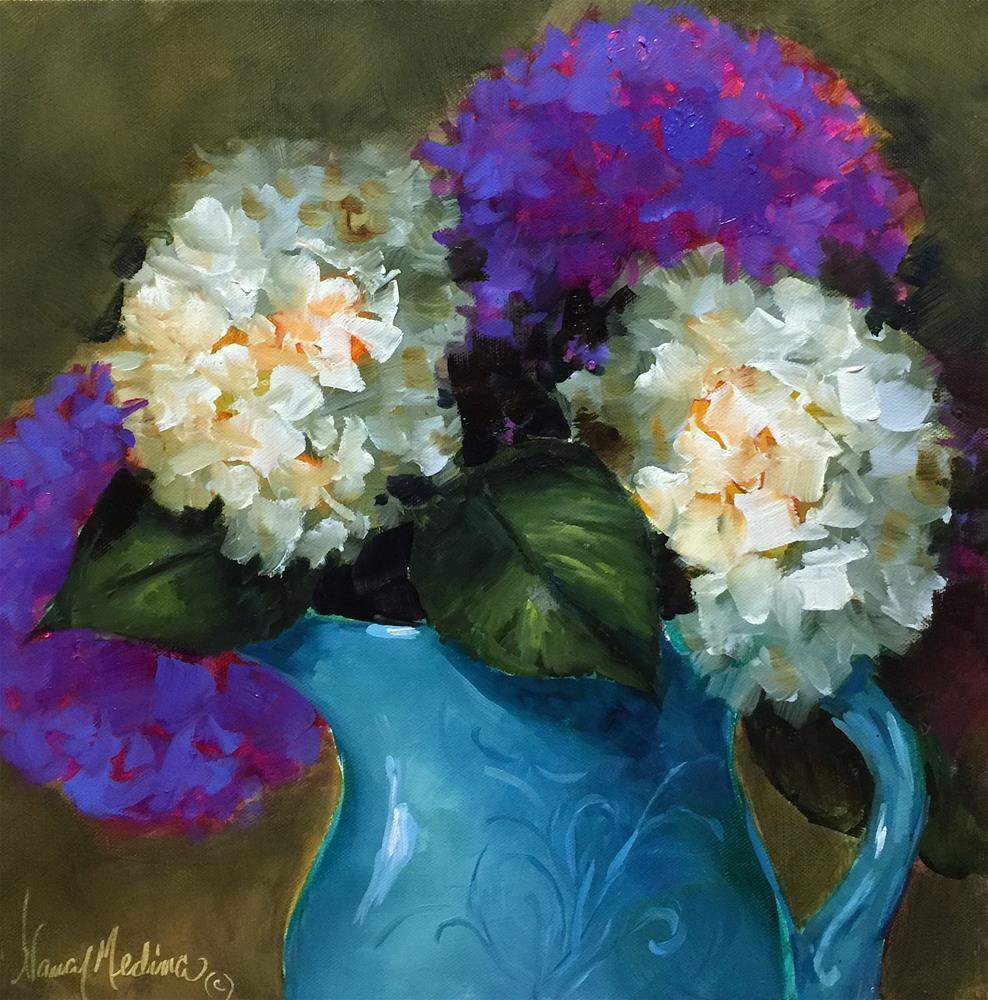 """Scattered Joy Hydrangeas - Nancy Medina Art Videos and Classes"" original fine art by Nancy Medina"