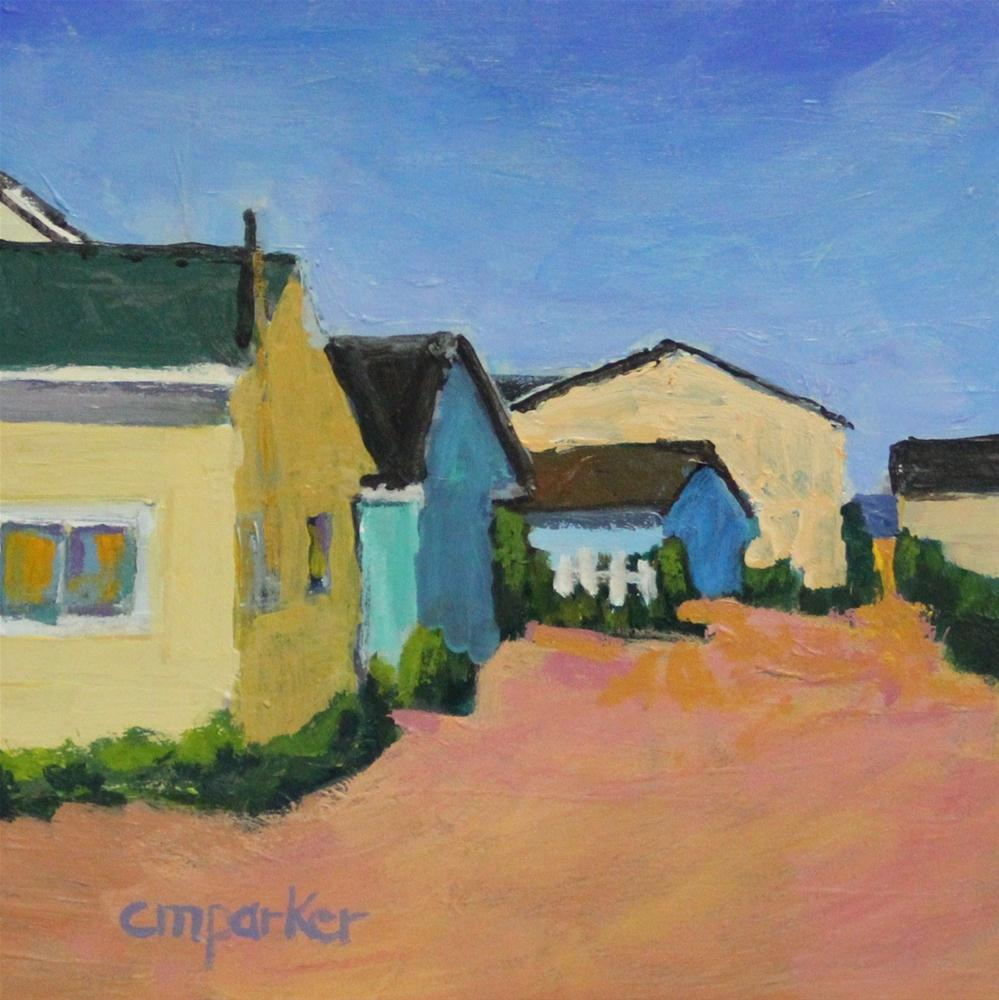 """Beach Cottages Yellow House"" original fine art by Christine Parker"
