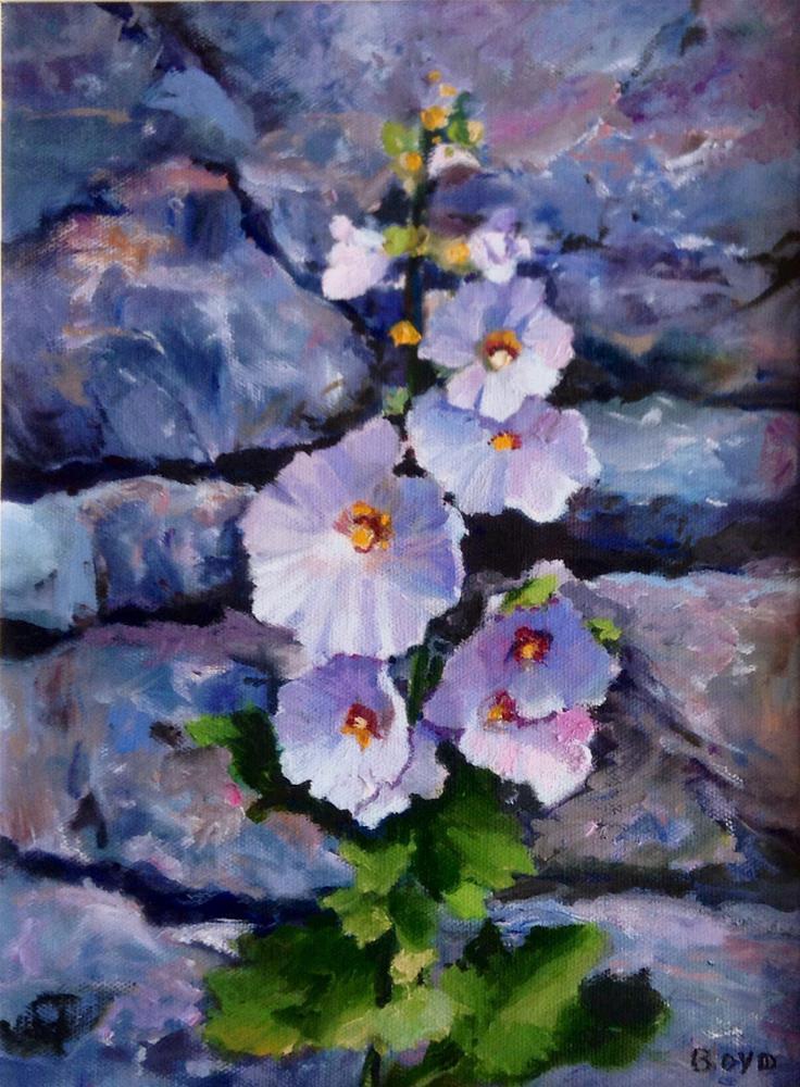 """""""Hollyhocks, Stone Wall"""" original fine art by Cathy Boyd"""
