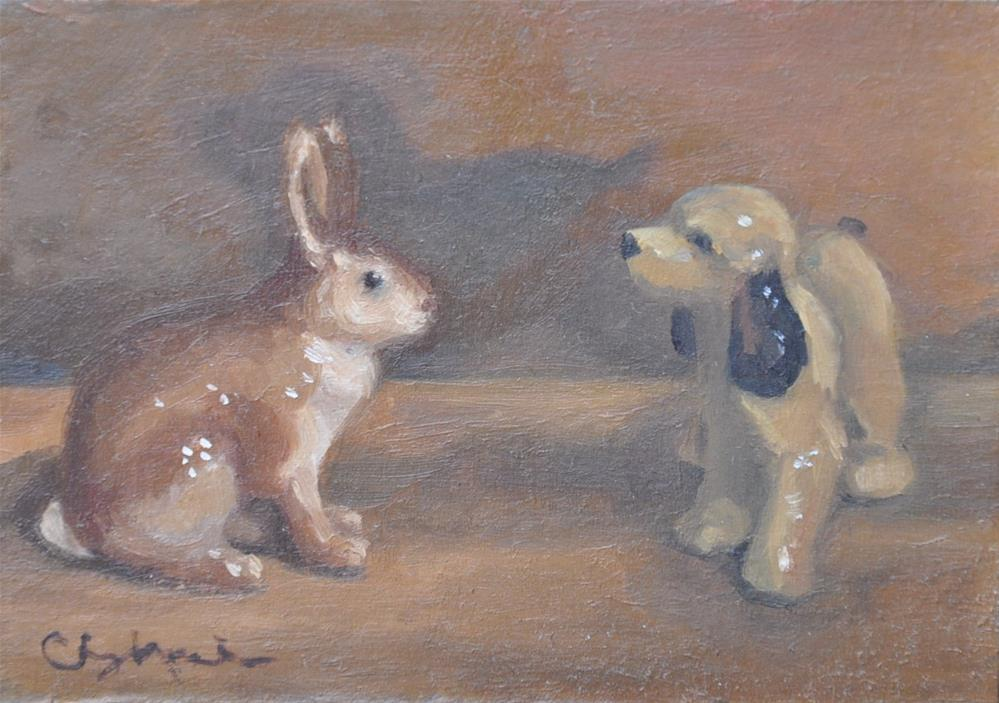 """Dog and Bunny"" original fine art by Cheryl Meehan"