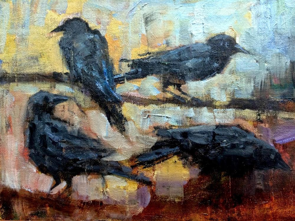 """""""Studying The Crows"""" original fine art by Julie Ford Oliver"""
