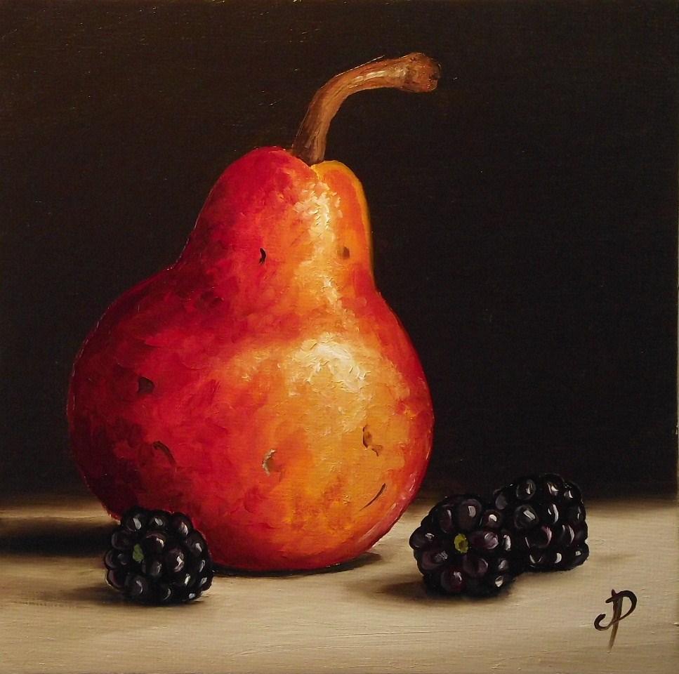 """Red Williams with Blackberries"" original fine art by Jane Palmer"