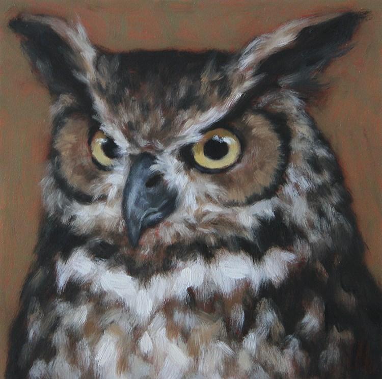 """""""Great Horned Owl"""" original fine art by Sarah Becktel"""