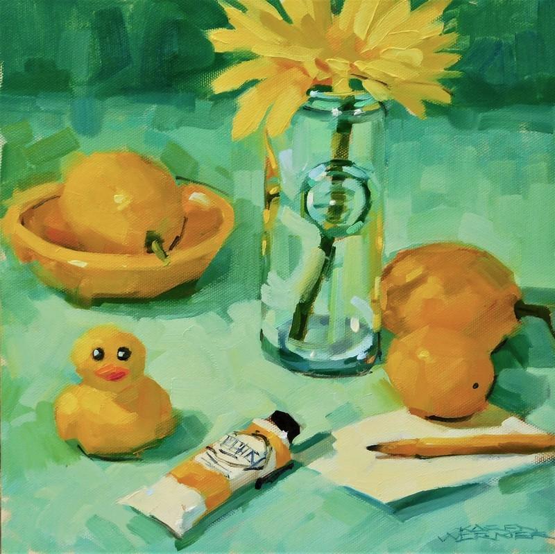 """Circle The Yellows"" original fine art by Karen Werner"