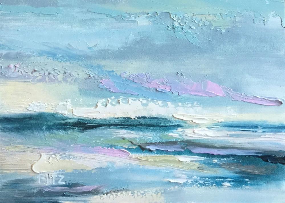 """""""Impasto Seascape 11"""" original fine art by Charlotte Fitzgerald"""