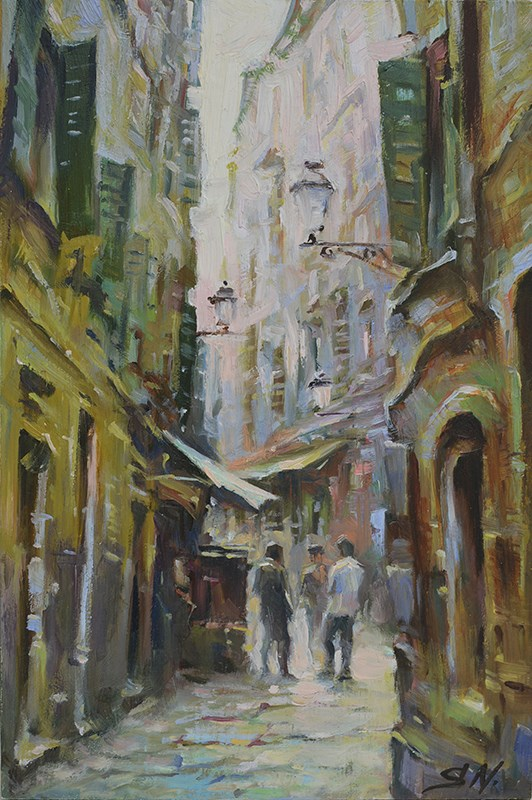 """Narrow alley, Cityscape of Aix en Provence – Street scene of Nice, France"" original fine art by Nick Sarazan"