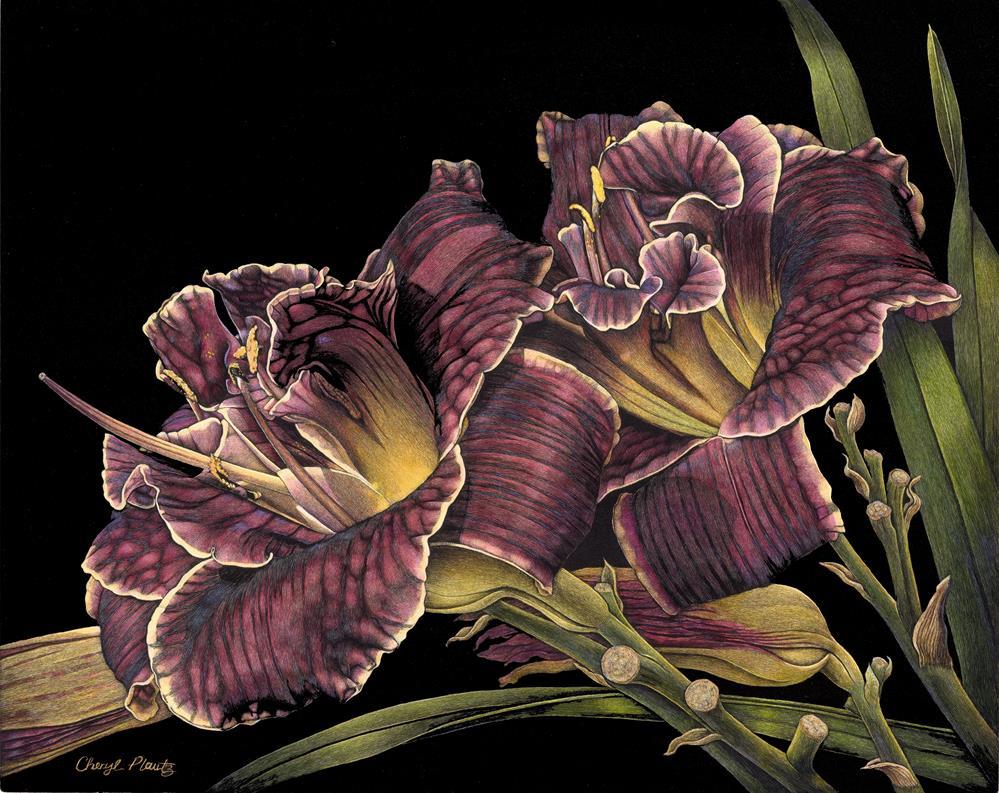 """Daylilies"" original fine art by Cheryl Plautz"