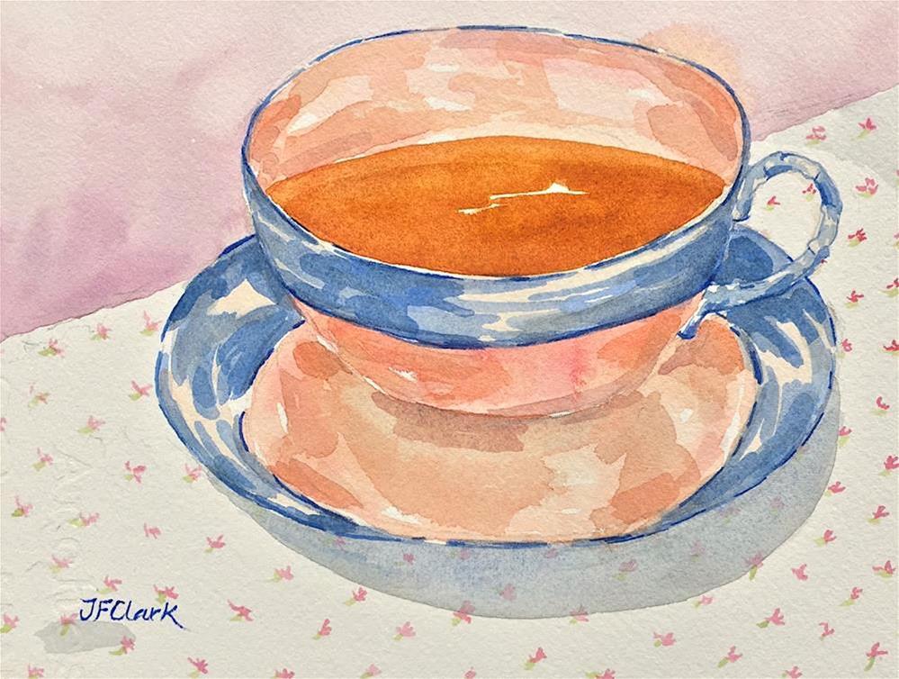 """Blue-banded Teacup"" original fine art by Judith Freeman Clark"