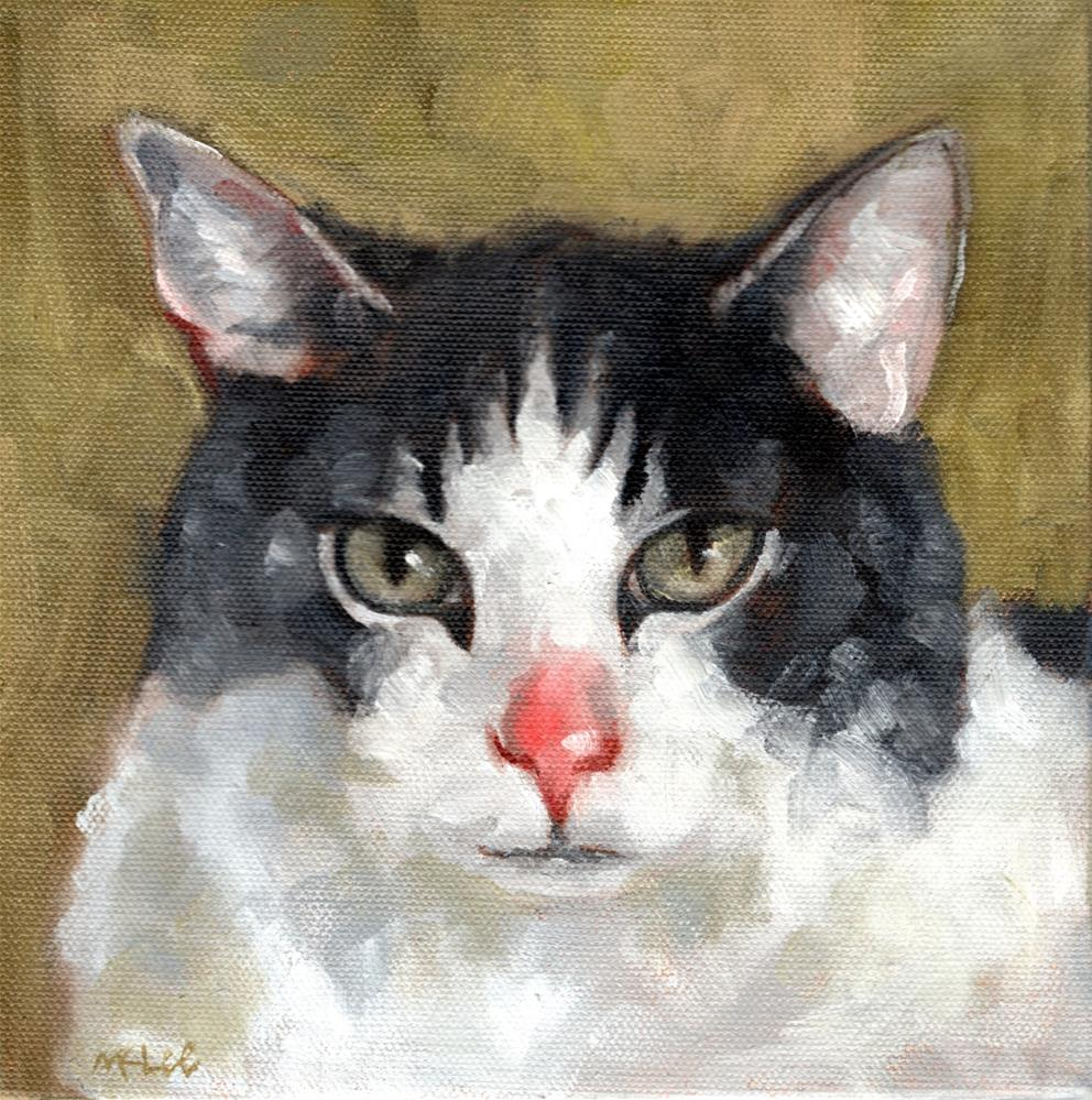 """Smoochie, cat oil portrait"" original fine art by Marlene Lee"