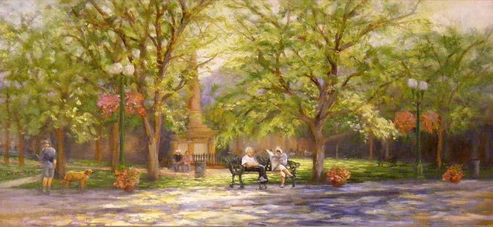 """""""Day at the Plaza,Landscape"""" original fine art by Diana Delander"""